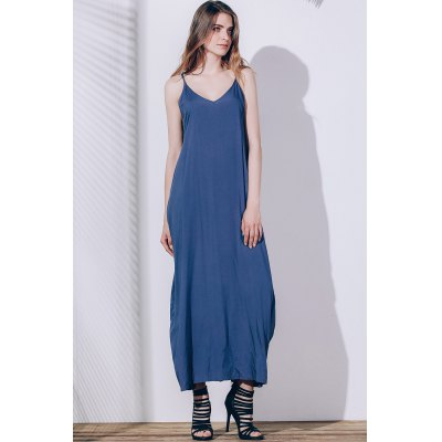 Spaghetti Strap Sleeveless Solid Color Loose-Fitting Dress
