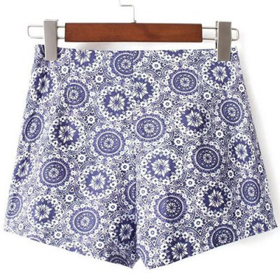 Casual High-Waisted Printed Zippered Women's Shorts