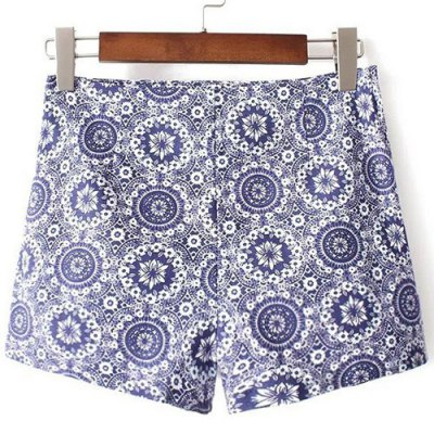 High-Waisted Printed Zippered Shorts