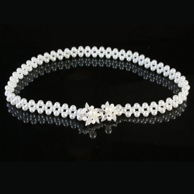 Chic Rhinestone Flower Shape Hasp Faux Pearl Waist Chain For Women