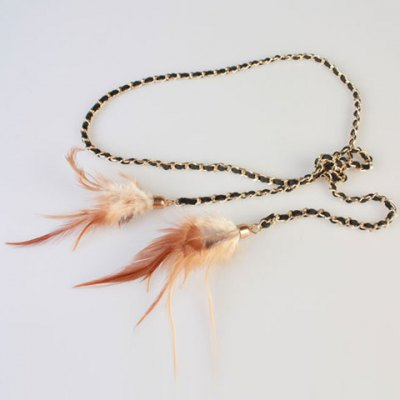 Feather Pendant Golden Alloy Match Waist Rope For Women