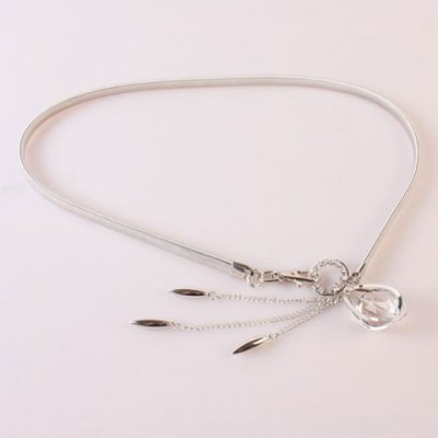 Artificial Crystal Decorated Tassel Alloy Elastic Waist Belt For Women