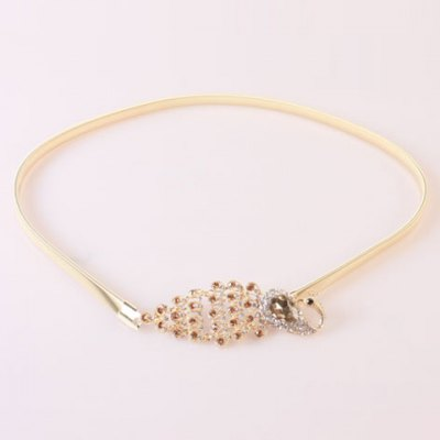 Chic Rhinestoned Feather Shape Buckle Elastic Alloy Waist Belt For Women