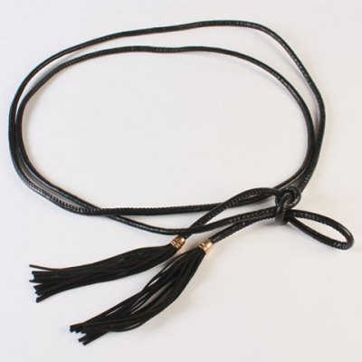 Chic Overlength PU Leather Rope Tassel Waist Belt For Women