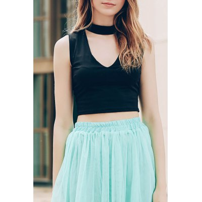 Stand-Up Collar Sleeveless Solid Colour Hollow Out Crop Top