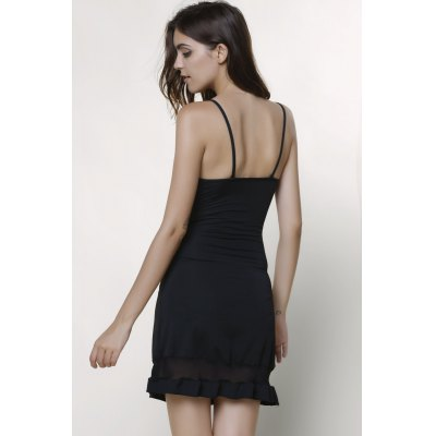 Sexy Spaghetti Strap Lacework Embellished Voile Spliced Dress For Women от GearBest.com INT