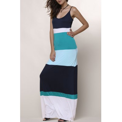 Spaghetti Strap Color Block Dress