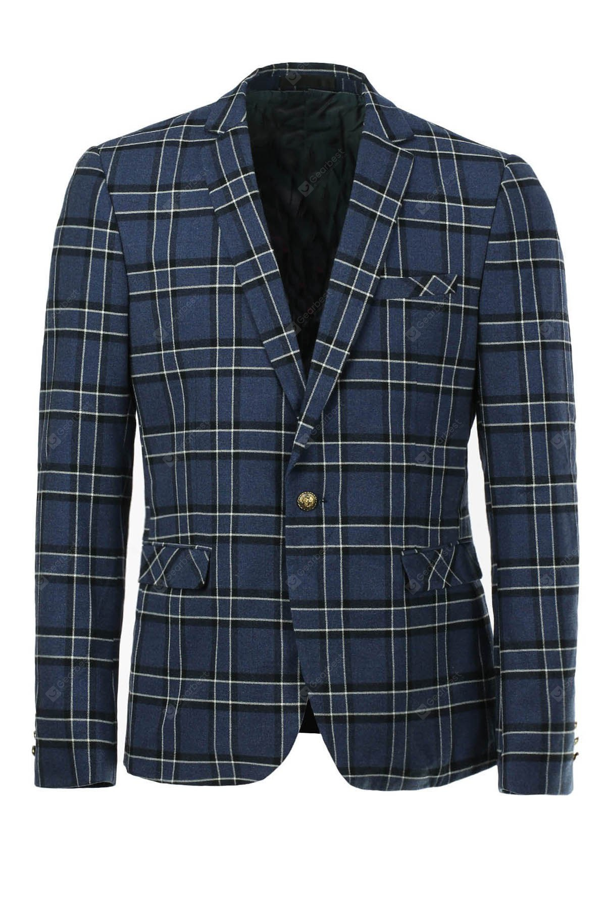 Blue Slim Fit Long Sleeves Checked Single Button Blazer Men-46.28 Online Shopping GearBest.com
