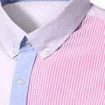 Casual Turn Down Collar Splicing Long Sleeves Shirt For Men deal