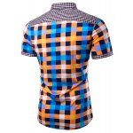 cheap Casual Splicing Checked Turn Down Collar Short Sleeves Shirt For Men