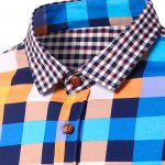 Casual Splicing Checked Turn Down Collar Short Sleeves Shirt For Men deal