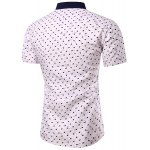 cheap Casual Heart Printing Turn Down Collar Short Sleeves Shirt For Men