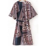 cheap Stylish Plunging Neck Half Sleeve Belted Printed Women's Dress