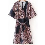 Stylish Plunging Neck Half Sleeve Belted Printed Women's Dress