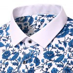 Casual Flower Printing Turn Down Collar Short Sleeves Shirt For Men deal