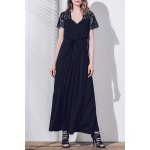 Buy Purplish blue Sexy Plunging Neck Short Sleeve Lace Spliced Solid Color Maxi Dress Women-30.81 Online Shopping GearBest.com