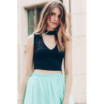 cheap Trendy Stand-Up Collar Sleeveless Solid Colour Hollow Out Crop Top For Women
