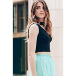 Trendy Stand-Up Collar Sleeveless Solid Colour Hollow Out Crop Top For Women deal