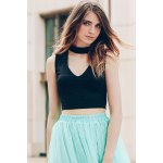 Trendy Stand-Up Collar Sleeveless Solid Colour Hollow Out Crop Top For Women for sale