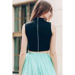 best Trendy Stand-Up Collar Sleeveless Solid Colour Hollow Out Crop Top For Women
