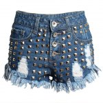 Street Style Mid Waist Rivet Embellish Hole Design Denim Shorts For Women