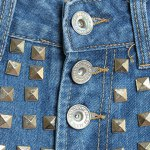 Street Style Mid Waist Rivet Embellish Hole Design Denim Shorts For Women for sale