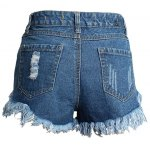 cheap Street Style Mid Waist Rivet Embellish Hole Design Denim Shorts For Women