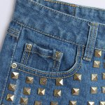 Street Style Mid Waist Rivet Embellish Hole Design Denim Shorts For Women deal