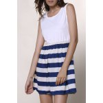 Fashionable Scoop Neck Sleeveless Spliced Striped Women's Dress