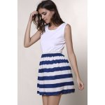 Fashionable Scoop Neck Sleeveless Spliced Striped Women's Dress photo