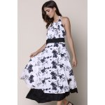 cheap Noble Halter High Waist Floral Printed Pleated Ball Gown Dress For Women