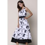 Noble Halter High Waist Floral Printed Pleated Ball Gown Dress For Women deal