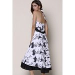 Noble Halter High Waist Floral Printed Pleated Ball Gown Dress For Women for sale
