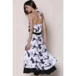 best Noble Halter High Waist Floral Printed Pleated Ball Gown Dress For Women