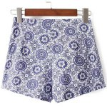 cheap Casual High-Waisted Printed Zippered Women's Shorts