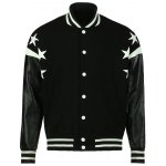 Stylish Stand Collar Loose Fit Thicken Star Letter Printed PU Leather Splicing Long Sleeve Polyester Jacket For Men