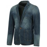 cheap Vogue Lapel Stereo Patch Pocket Long Sleeves Ombre Denim Blazer For Men