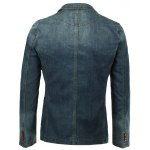 Vogue Lapel Stereo Patch Pocket Long Sleeves Ombre Denim Blazer For Men deal