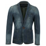 Vogue Lapel Stereo Patch Pocket Long Sleeves Ombre Denim Blazer For Men
