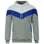 cheap Slimming Trendy Hooded Personality Color Splicing Long Sleeves Men's Thicken Hoodies