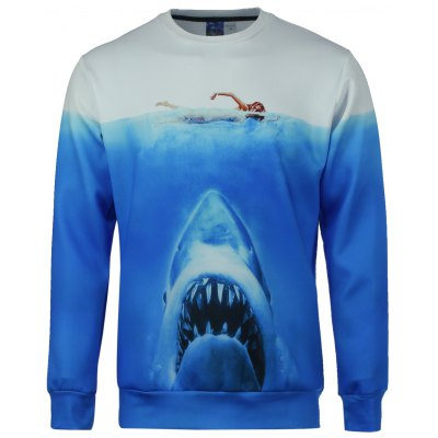 Modish Fitted Round Neck 3D Shark Pattern Long Sleeve Cotton Blend Sweatshirt For Men