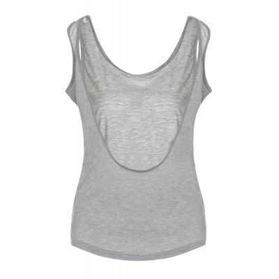 Stylish Scoop Neck Backless Tank Top For Women