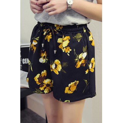 Plus Size High Waisted Floral Print  Culotte ShortsShorts<br>Plus Size High Waisted Floral Print  Culotte Shorts<br><br>Style: Fashion<br>Length: Mini<br>Material: Polyester<br>Fit Type: Loose<br>Waist Type: Mid<br>Closure Type: Elastic Waist<br>Front Style: Flat<br>Pattern Type: Print<br>Embellishment: Adjustable Waist,Flowers<br>With Belt: No<br>Weight: 0.270kg<br>Package Contents: 1 x Shorts