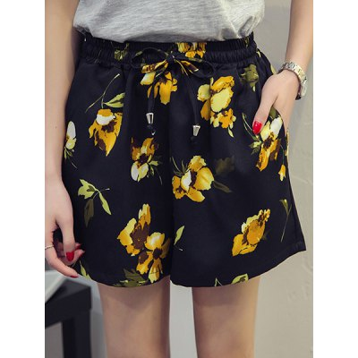 Plus Size  Floral Print Wide Leg Women's Shorts