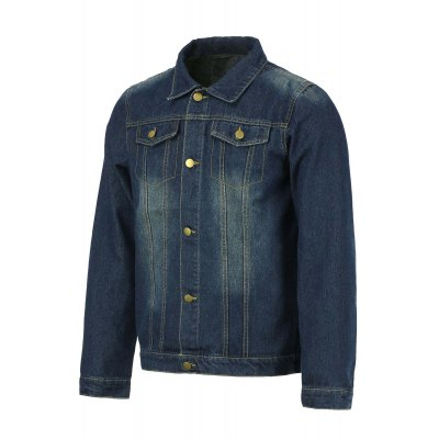 Trendy Shirt Collar Double Pockets Buttons Design Slimming Long Sleeve Denim Jacket For Men
