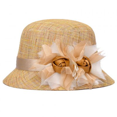 Handmade Big Flower and Ribbon Embellished Bucket Hat For Women