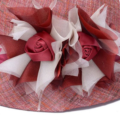 Chic Handmade Big Flower and Ribbon Embellished Bucket Hat For Women