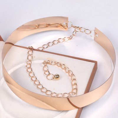 Chic Rectangle High Polish Alloy Wide Waist Belt For Women