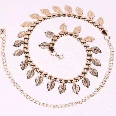 Chic Leaf Shape Hollow Out Alloy Waist Chain For Women