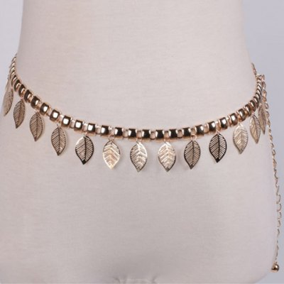 Leaf Shape Hollow Out Alloy Waist Chain For Women